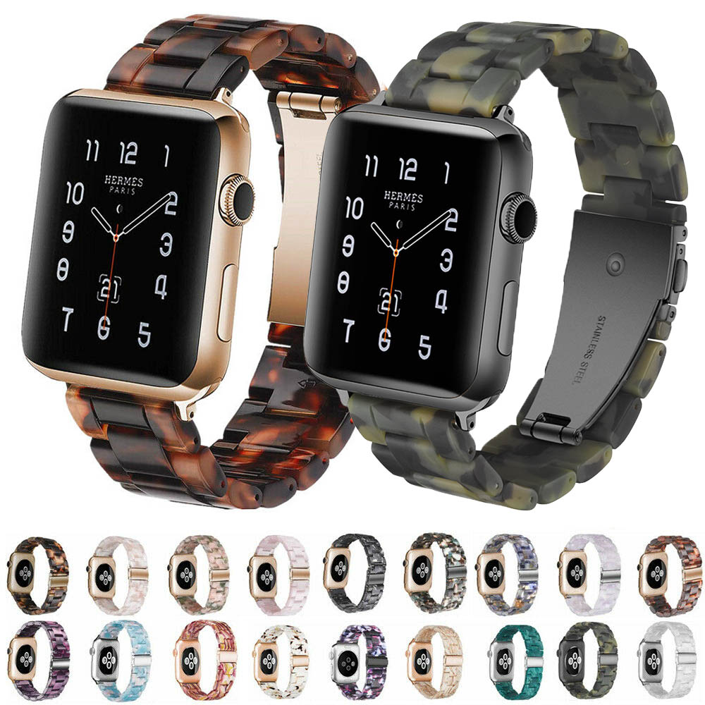 Replacement Resin Lines Watch Strap Bracelet For Apple Watch Series 5/4/3/2/1 42mm 44mm 38mm 40mm Leopard Print