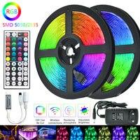 Tira de luces LED RGB SMD 5050 2835, 5m, 10m, 15m, 20m, cinta a rayas Flexible resistente al agua, CC de 12V, adaptador controlador de cinta IR