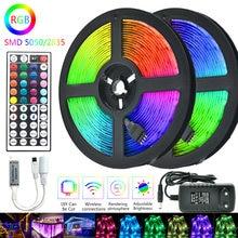 Bande lumineuse RGB, SMD 5050 2835, 5m 10m 15m 20m, Flexible, étanche, ruban Diode, DC 12V, adaptateur de contrôleur IR