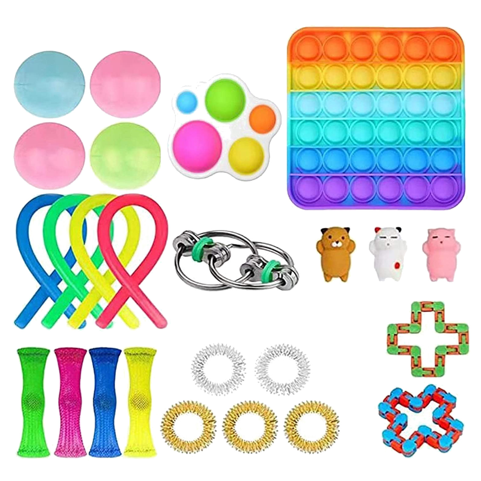 25 Pcs Fidges Fidget Toy Set Cheap Sensory Fidget Toys Pack for Kids or Adults Squishy