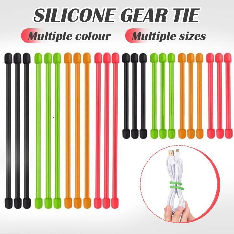 Hot Sale Reusable Magic Rubber Twist Ties Cable Wire Gear Tie Organizer Cable Winder Colourful Random Color 3''6''12