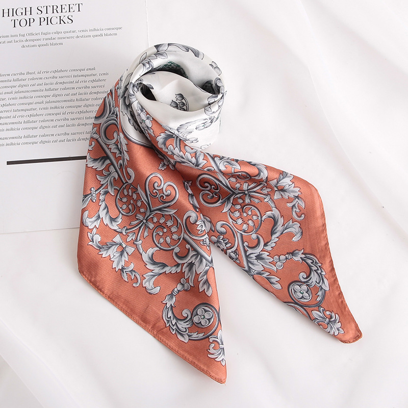 Fashion Women Silk Scarf For Hair Small Shawl Floral Print Kerchief Satin Head Scarves Female 70cm Square Neck Scarfs For Ladies