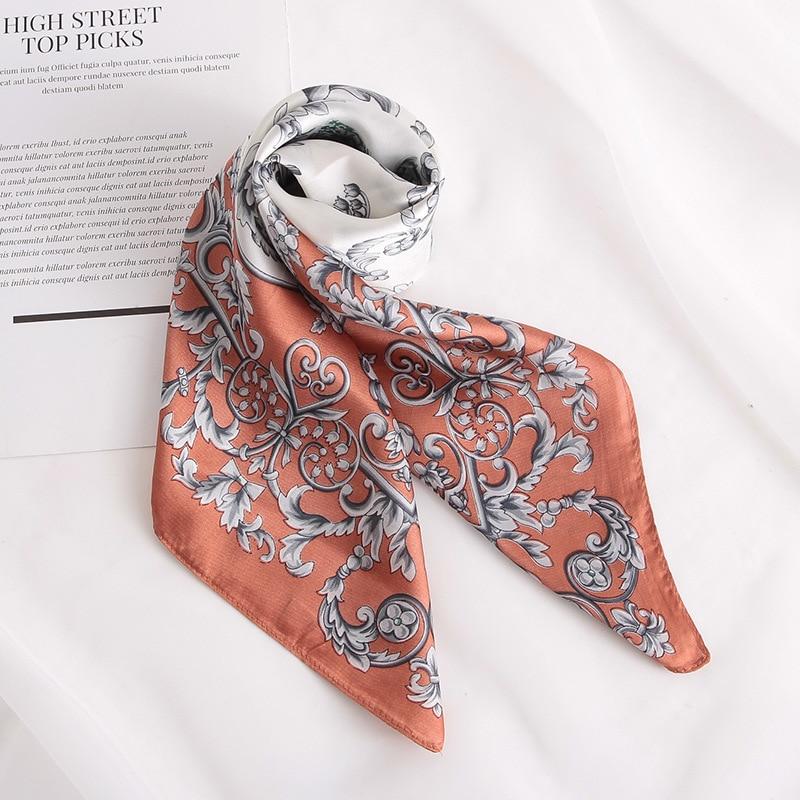 Fashion Women Silk Scarf For Hair Small Shawl Floral Print Kerchief Satin Head Scarves Female 70cm Square Neck Scarfs For Ladies