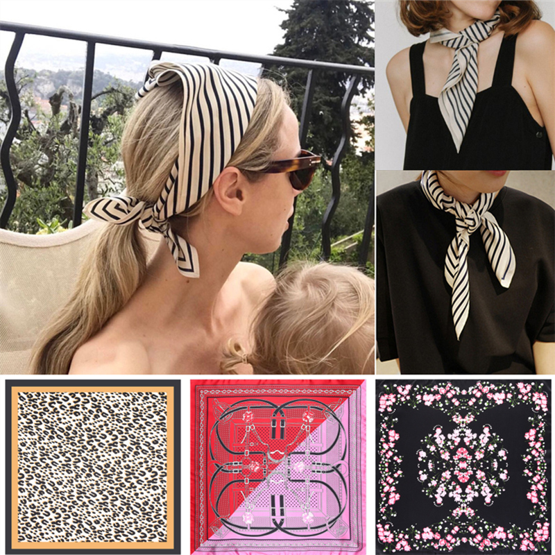 Fringe Frame Square Scarves Bandanna Silk Scarf Women 2020 Fashion Headband Neck Tie Band Professional Neckerchief Drop Shipping