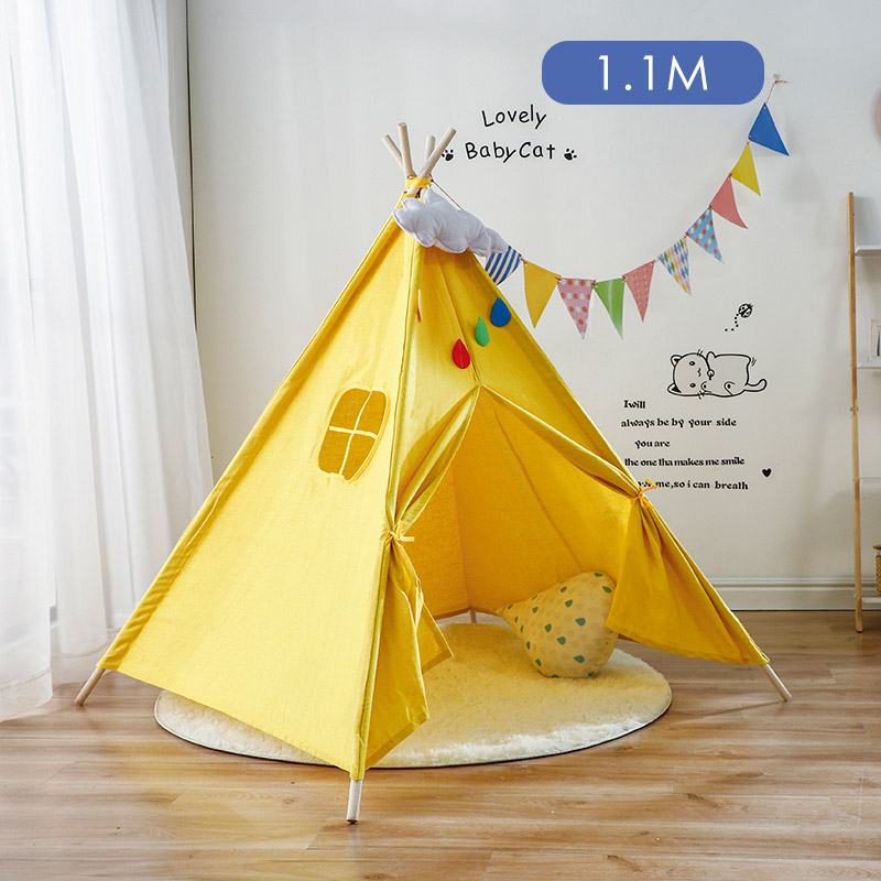 1.1M Cotton Carva Indian Children's Tent Portable Kids Tent Tipi Teepee Children's House Indoor Children's Hut Baby Tent