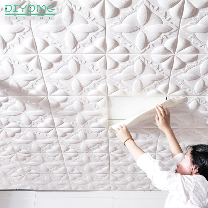 Self-adhesive Roof Wallpaper 3D PVC Waterproof Ceiling Wallpaper Contact Stickers Stereo TV Background Ceiling Decor Paper Decal
