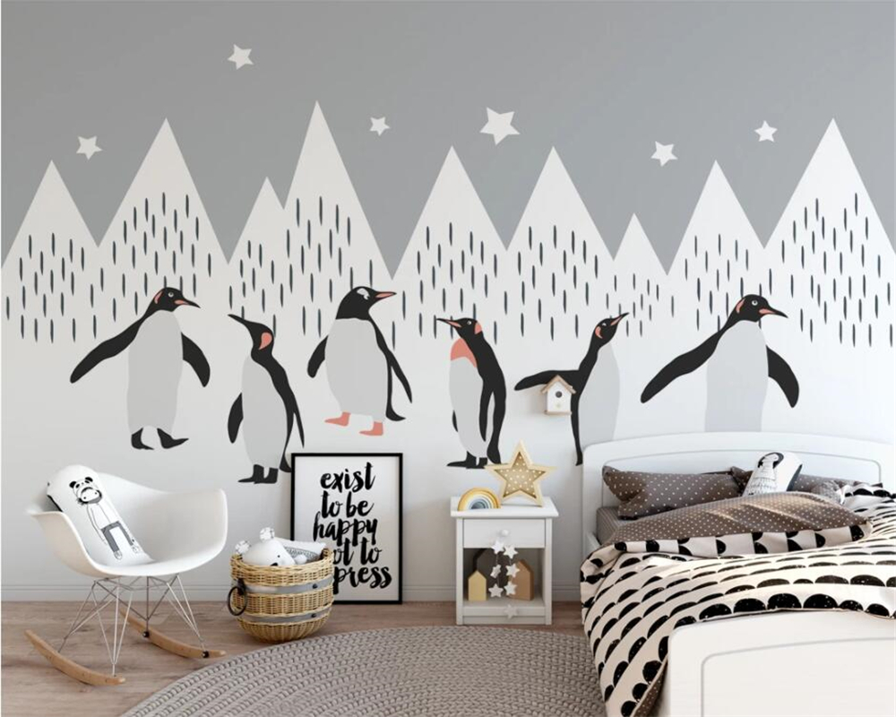 Beibehang Custom Wallpaper Snow Mountain Penguin Flat Illustration Children's Room Nordic Background Walls  Mural 3d Wallpaper