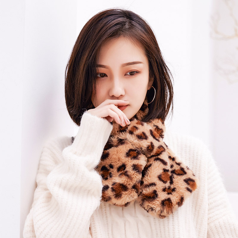 Long Thick Scarf Pullover White Versatile Warm Korean-style Imitation Rabbit Fur Scarf Men And Women Winter