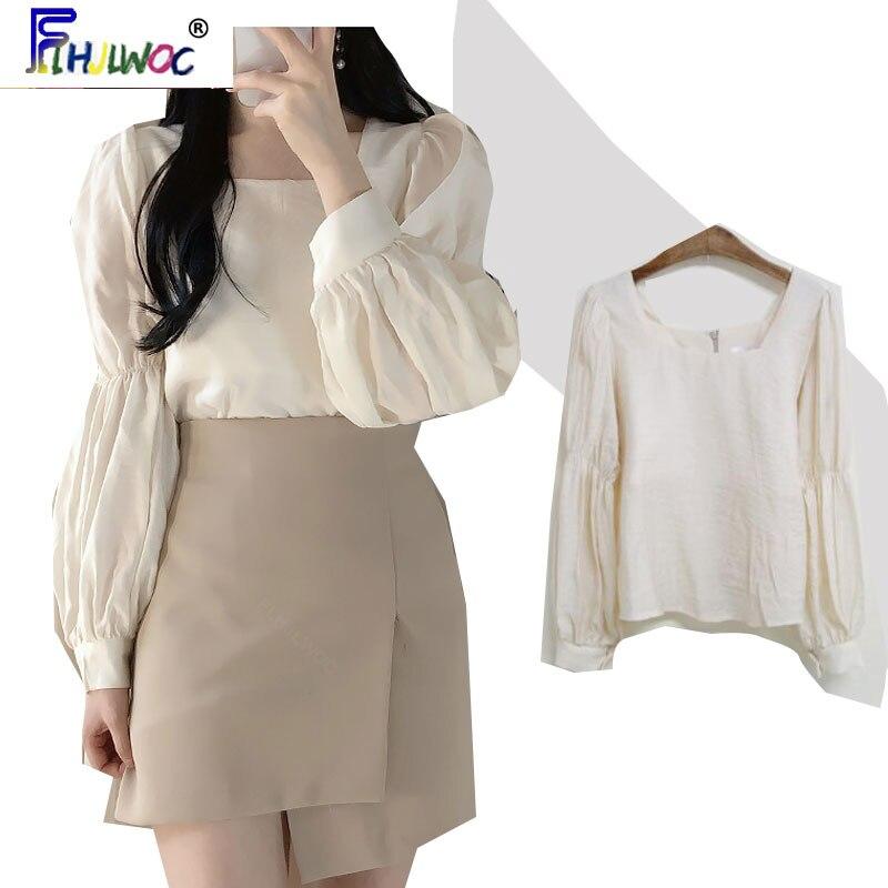 2020 Cute Sweet Tops Puff Sleeve New Design Women Fashion Korean Japanese Style Flhjlwoc Long Sleeve Vintage Top Blouse 4308