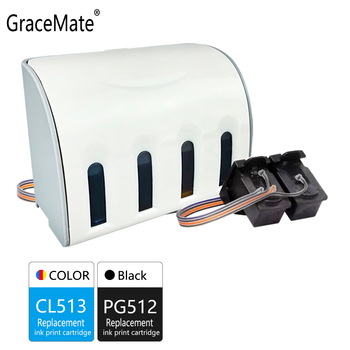 GraceMate Replacement for Canon PG512 CL513 CISS Bulk Ink Cartridges for Pixma MP282 MP330 MP480 MP490 MP492 MP495 MP499 Printer