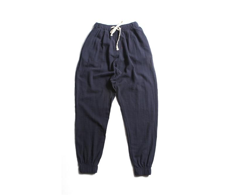 2018 Autumn New Style Beam Leg Drawstring Linen Pants Plus-sized Menswear Fashion Cotton Linen Casual Trousers Men's