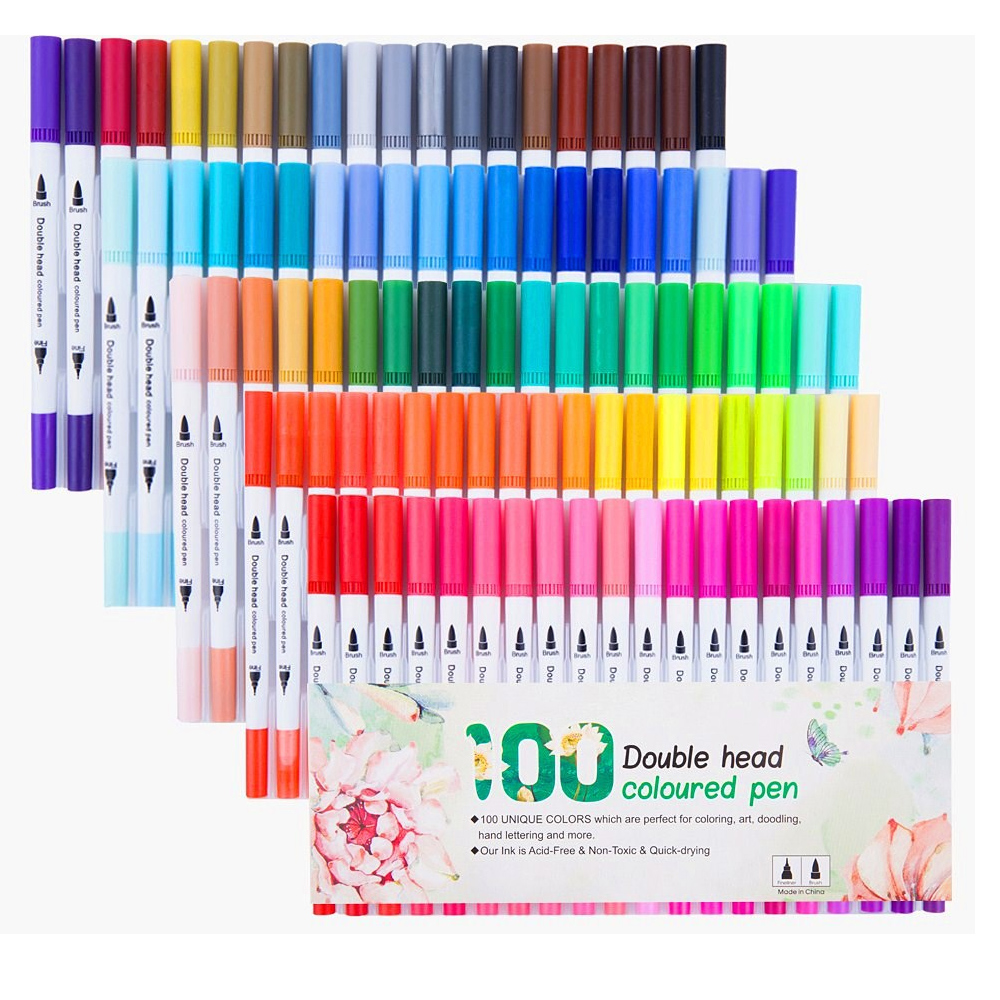 100 Colors Dual Tip Brush Pen Set Art Marker Watercolor Fine Liner Sketch Drawing Color Pens For School Art Painting Supplies