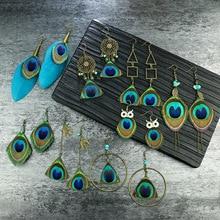 Bohemian Ethnic Style Earrings 2020 Trend Vintage Geometric Shape Owl Handmade Natural Peacock Feather Women Earrings