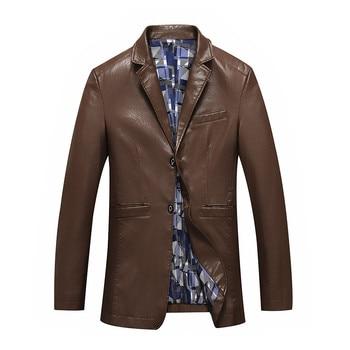 Fashion Large Size Men Leather Jackets Coats Suit Collar Leather Jackets Men Plus Size Slim Clothing Soft Faux Leather Clothes