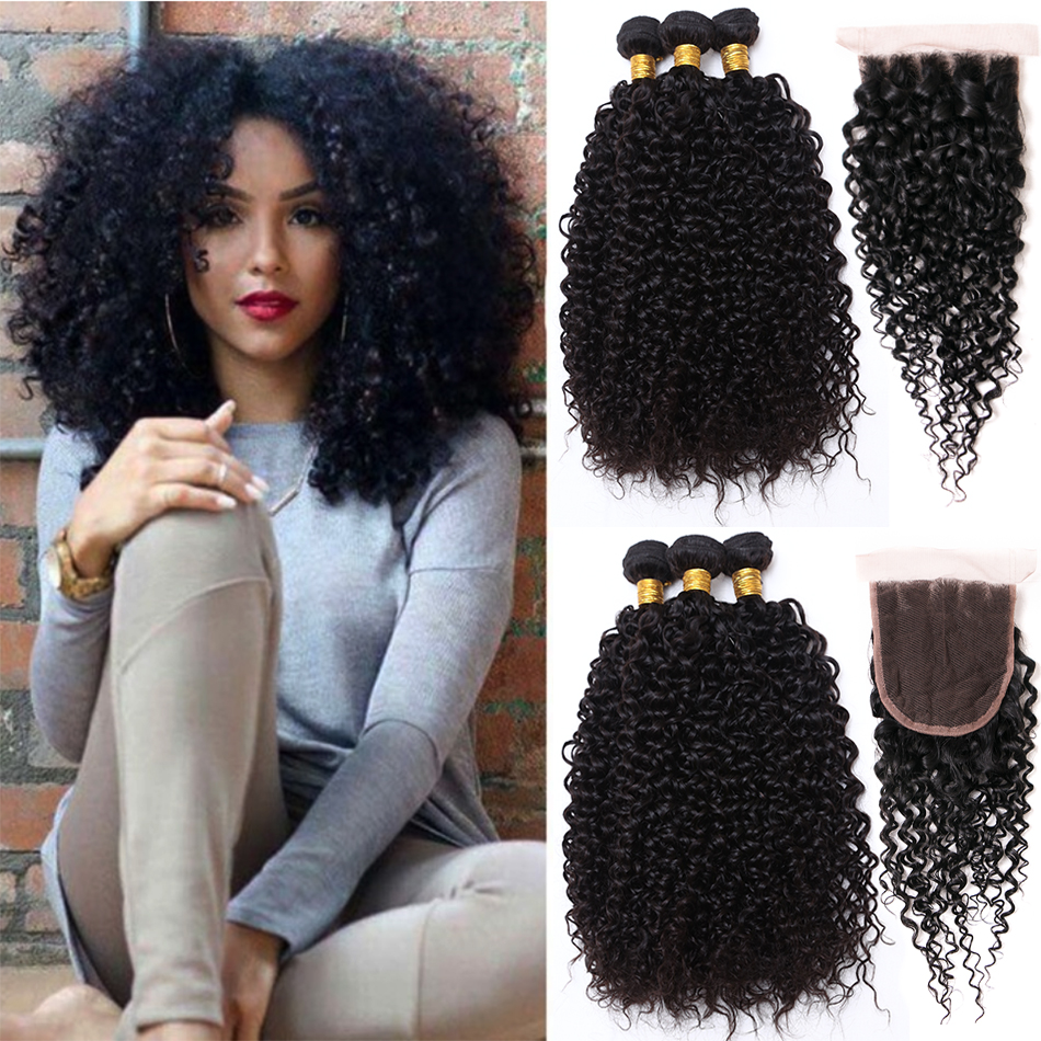 Jaycee Malaysian Curly Hair With Closure Wet And Wavy Human Hair Bundles With Closure Curly Malaysian Kinky Curly Hair