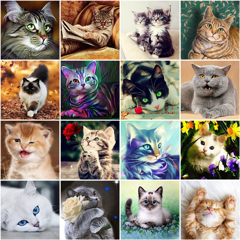 5D DIY Full Drill Diamond Painting Cat Cross Stitch Mosaic Craft Kit Home Decor