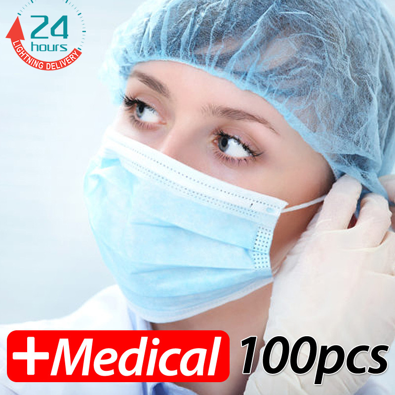 100 pcs disposable earloop face masks dental surgical hypoallergenic