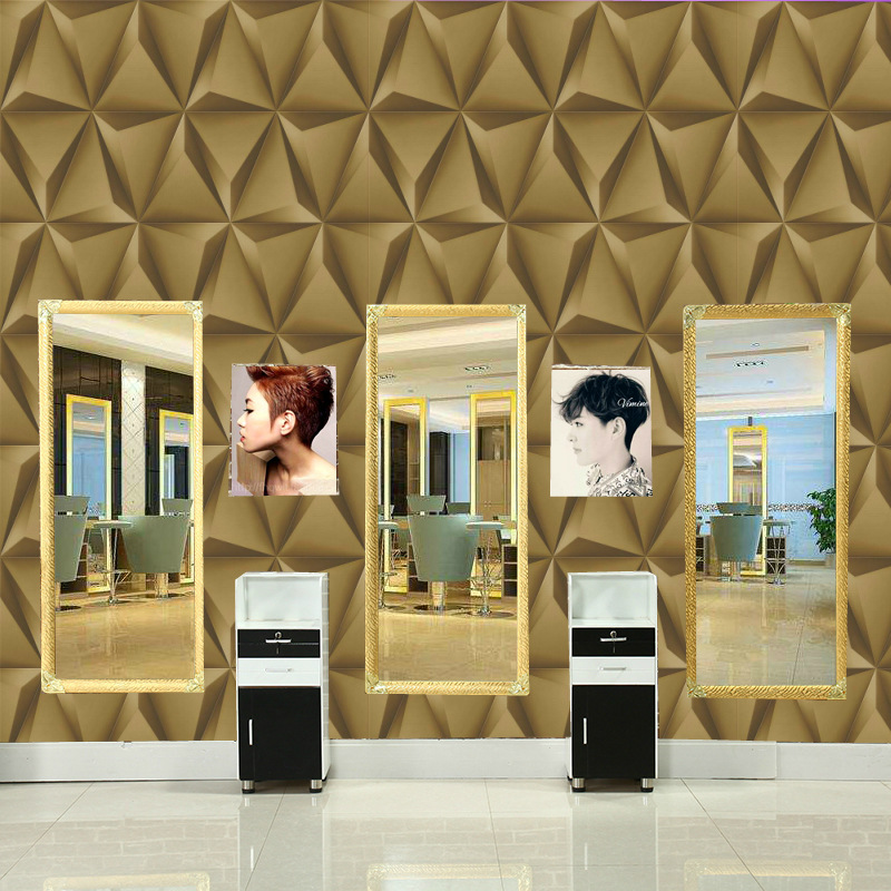 Modern 3D Geometric Pattern Waterproof PVC Barber Shop Wallpaper Imitation Soft Bag Ceiling KTV Wallpaper Wholesale