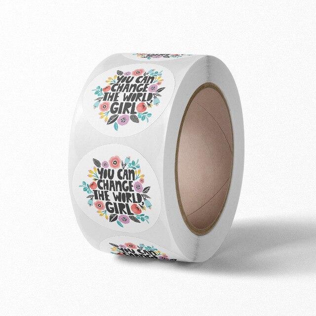 """500 stücke Liebe Selbst Aufkleber Pack Inspirational Aufkleber """"können sie ändern die welt, mädchen"""" für Baby Dusche, Hochzeit Party Favors"""
