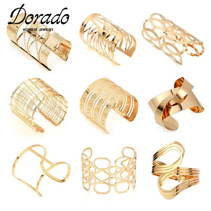 Dorado Hollow Wide Cuff Bracelets & Bangles For Women Men Retro New Alloy Open Big Male Female Bangle Bracelet Fashion Jewelry(China)