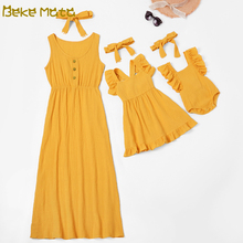 Family Matching Dress Mom And Daughter Dress Sleeveless Family Look Mother Daughter Dresses Mommy And Me Clothes Baby Romper Set family matching dress mom and daughter dress sleeveless family look mother daughter dresses mommy and me clothes baby romper set