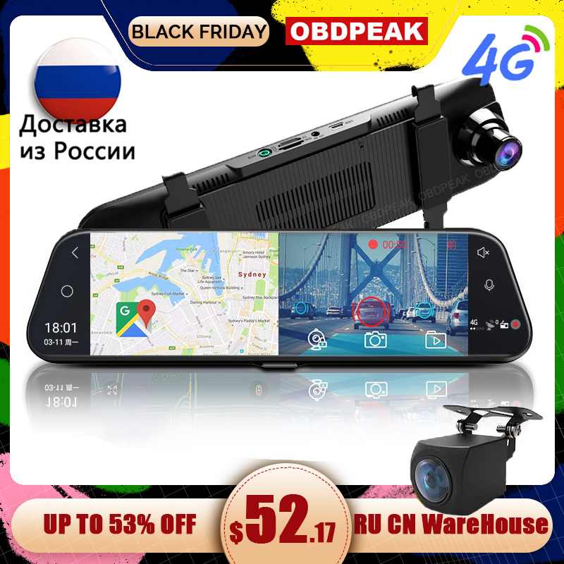 Dual 1080P 4G Android 8.1 10 Inch Stream Media Car Rearview Mirror Bluetooth Camera Car Dvr ADAS Super Night WiFi GPS Dash Cam