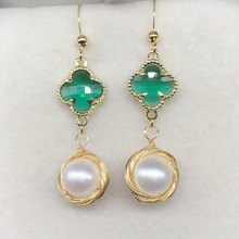 New natural 8MM pearl bead earrings with fashion green four-leaf clover crystal jewelry ladies earrings gift