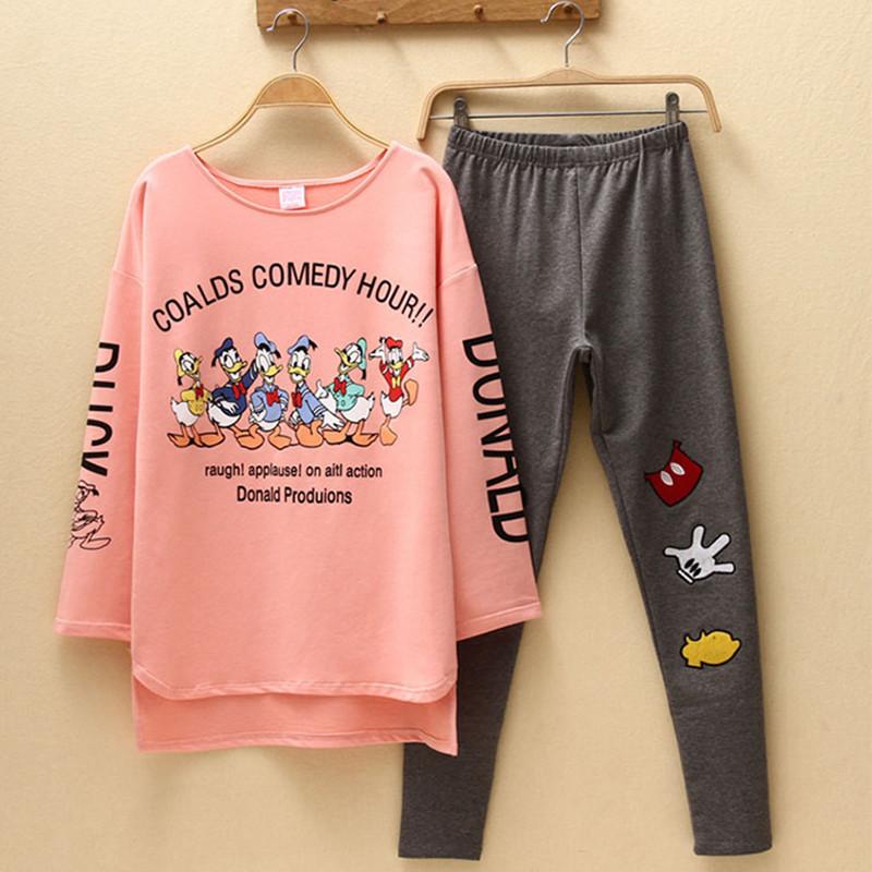 Sleepwear Two Piece Set Autumn Women Donald Duck Cartoon Tracksuit Mickey Tops Pants Pajamas Fashion Suit Clothes Plus Size