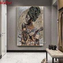 Peinture diamant femme africaine noire, mosaïque, Graffiti, broderie complète 5D, Art abstrait, soldes