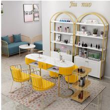 Marble Double-layer Nail Table and Chair Set Nordic Single Double Nail Table Net Red Economy Manicure Manicure Table