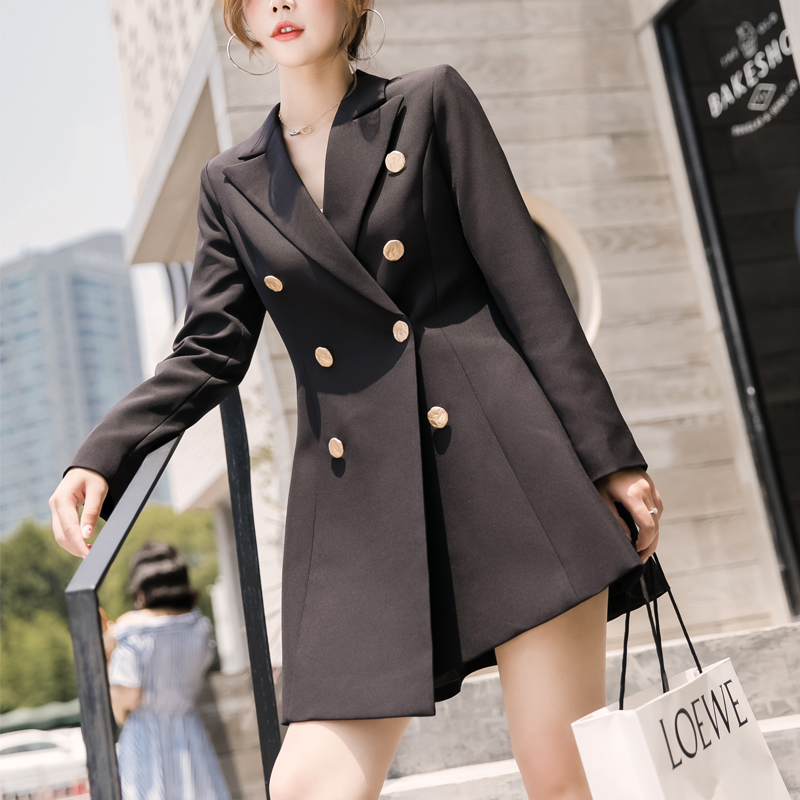 Autumn Winter Suit Women 2019 New Casual Double Breasted Pocket Jacket Blazer Outerwear