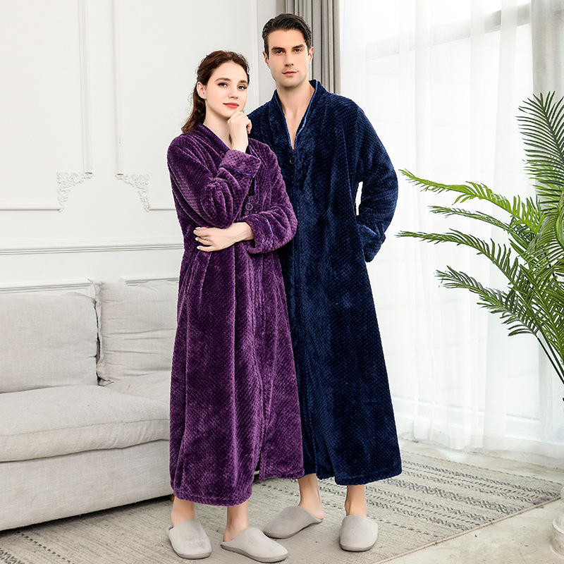 Women Plus Size Thickening Flannel Extra Long Thermal Bathrobe Lovers Zipper V-Neck Winter Warm Bath Robe Pregnant Wedding Robes
