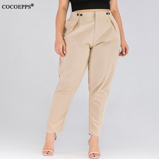XL-4XL 2020 Spring Plus size Women Harem Pants Casual Summer Office Ladies Trousers Large Size Female High Wiast Khaki Work Pant 17