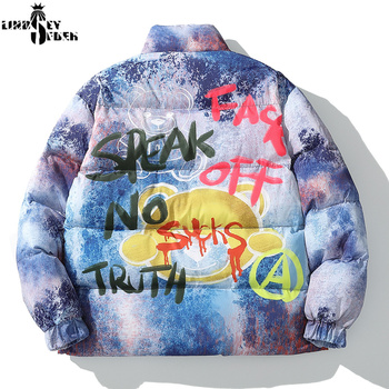 Lindsey Seader 2020 Hip Hop Jacket Parka Colorful Graffiti Streetwear Men Windbreaker Winter Padded Jacket Coat Warm Outwear