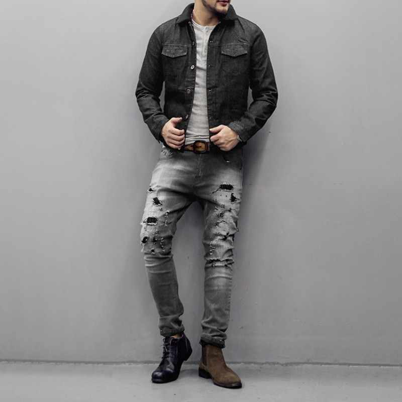 Fashion Mens Hole Ripped Skinny Jeans Male Jeans Slim Fit Long Trousers Washed Casual Streetwear Buttons Straight Denim Pants