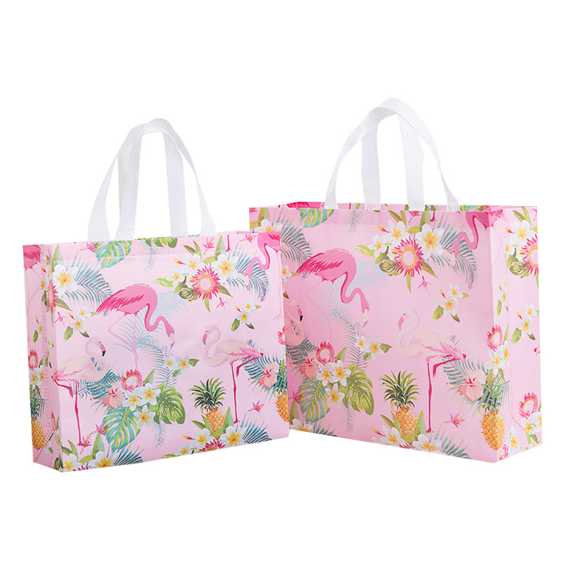 Fashion Non-woven Fabric Reusable Shopping Bag Pink Flamingo Printed Grocery Bag Portable Travel Storage Handbag Pouch Eco Bag