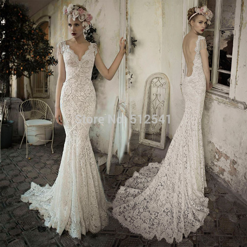 Sexy Backless V Neck Trumpet Mermaid Wedding Dresses Robe De Mariee Lace Vestido De Noiva Beads Sweep Train Bridal Gowns 2019