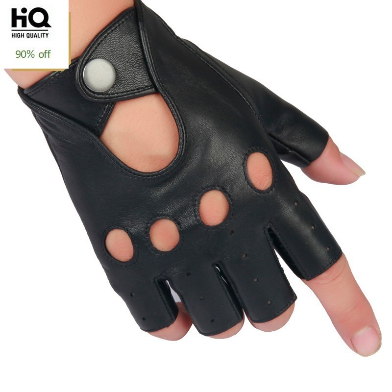 Spring Men's Genuine Leather Gloves Driving 100% Sheepskin Half Fingerless Gloves High Quality Fitness Breathable Tactical Glove