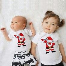 Dabbing Santa family look; Рождественский Комбинезон для маленьких мальчиков; вечерние футболки для девочек; белые топы; семейная одежда для братьев и сестер