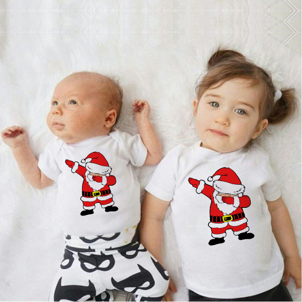 Dabbing Santa Family Look Toddler Kids Baby Boys Christmas Romper Girls Party Tshirt White Tops Brothers Sisters Family Wear