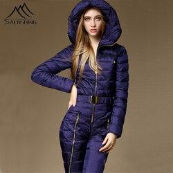 Цельный лыжный костюм на утином пуху для женщин, зимний комбинезон для катания на горных лыжах, супер теплый зимний лыжный костюм, брюки, дыш...