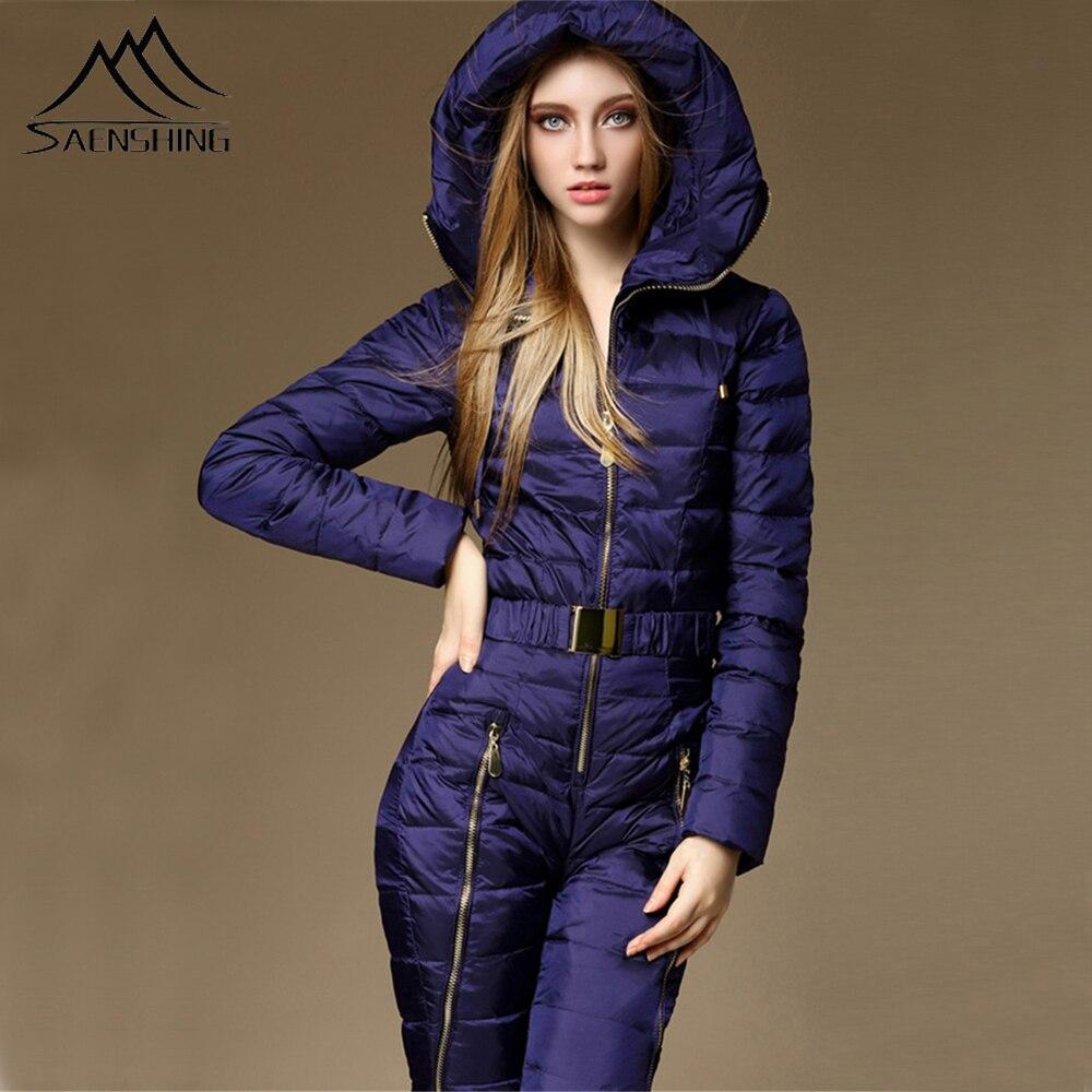 SAENSHING One Piece Ski Suit Women Duck Down Overalls Mountain Skiing Jumsuit Warm Winter Ski Jacket Pants Breathable Snow Set gown
