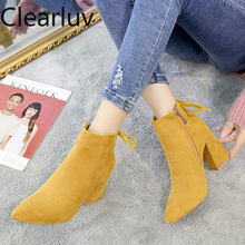 2020 Yellow Color Ankle Boots Women Shoes Zipper High Heel B