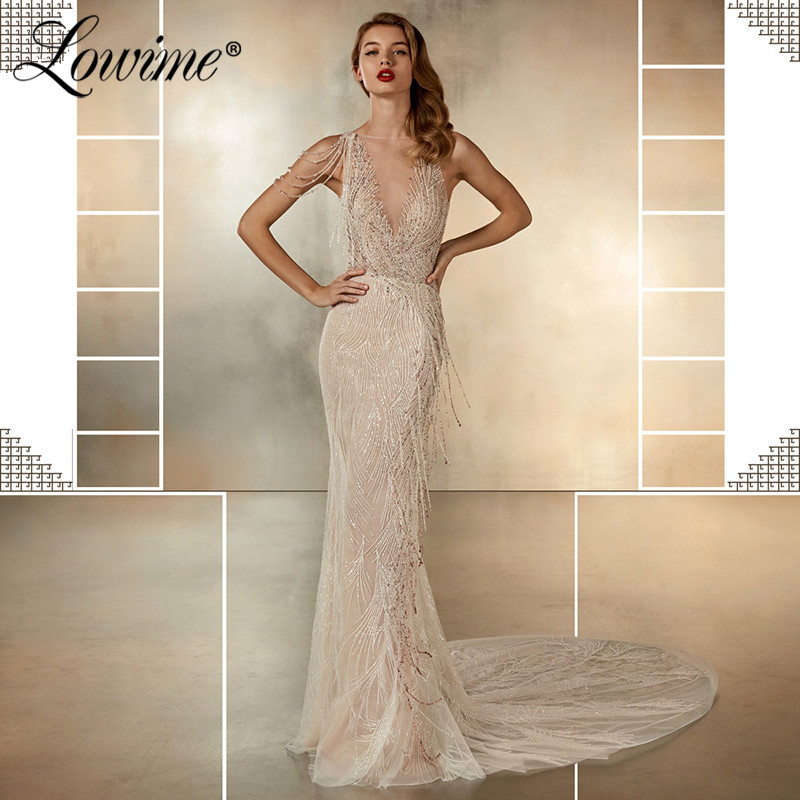 Arabic Beaded Tassel Champagne   Evening     Dresses   Mermaid 2020 Islamic Aibye Party Gowns Middle East Beading   Evening     Dresses   Custom