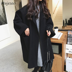 Wool Women Large Size 3XL Open Stitch Batwing Sleeve Big Pockets All-match Solid Simple Womens Outwear Blends Long Korean Style