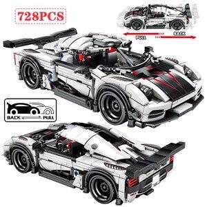Cidade puxar para trás mecânica f1 carro de corrida blocos de construção técnica diy carro esporte tijolos brinquedos educativos para meninos