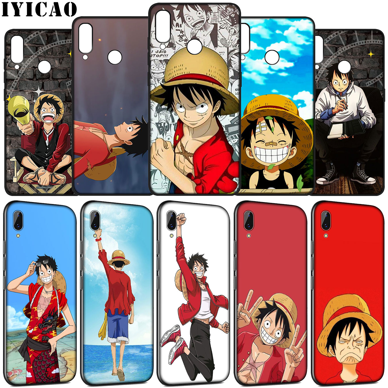 IYICAO <font><b>one</b></font> <font><b>piece</b></font> luffy Soft Silicone Case for Huawei Y9 Y7 Y6 Prime <font><b>2019</b></font> <font><b>Honor</b></font> <font><b>view</b></font> 20 8C 8X 8 9 9X <font><b>10</b></font> <font><b>Lite</b></font> 7C 7X 7A Pro <font><b>Cover</b></font> image