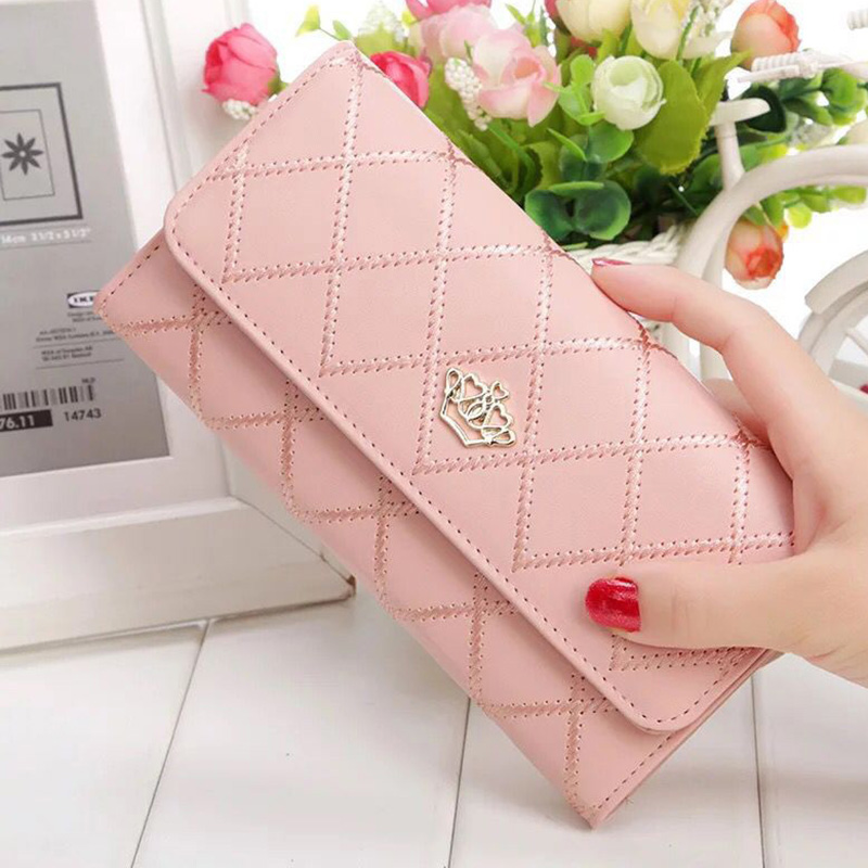 Womens Wallets Purses Plaid PU Leather Long Wallet Hasp Phone Bag Money Coin Pocket Card Holder  Ladies Purses and Wallets