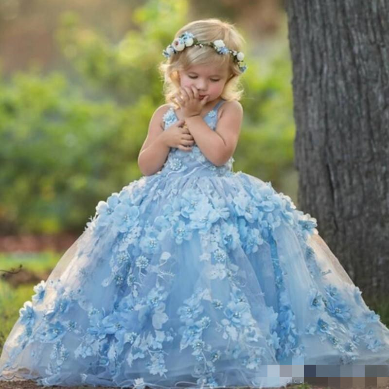 Luxe bleu fleur filles robes col en V perles à la main fleurs bambins robe de reconstitution historique longueur de plancher princesse robes de fête pour Wedd