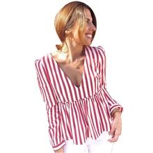Fashion Women Blouse Stripped Full Sleeve Deep V-neck Top For Female Summer Clothes рубашка женская S-XL Size D30